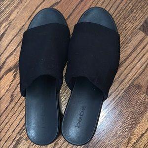 black platform slip on mule / slides